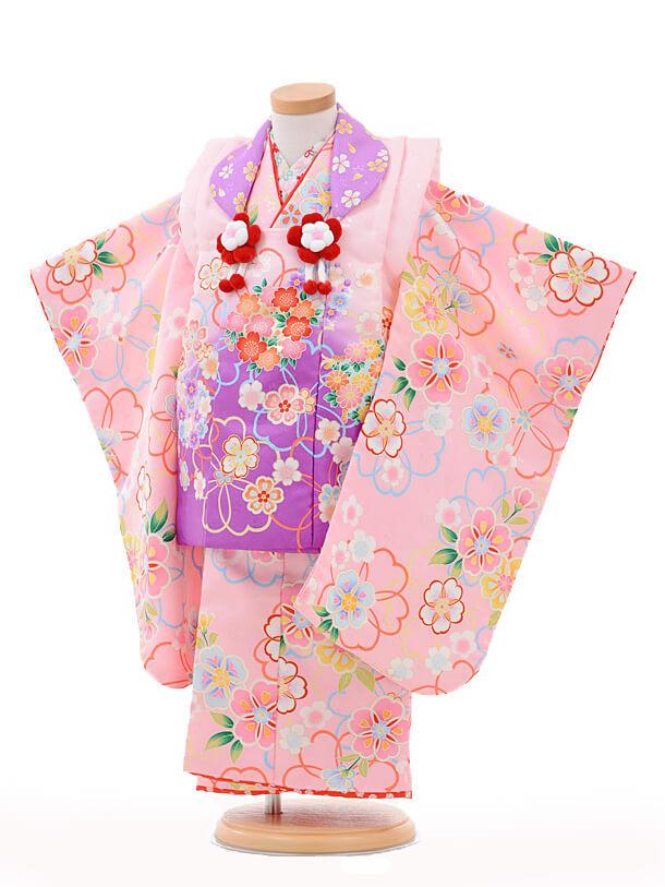 七五三レンタル(3歳女の子被布)3203maomaoピンク紫ぼか