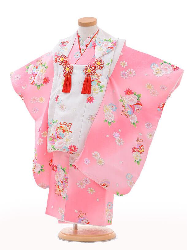 七五三レンタル(3歳女の子被布)3209白×ピンク鈴に花ち