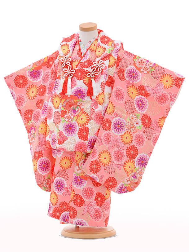七五三レンタル(3歳女の子被布)3211白×ピンク菊蝶