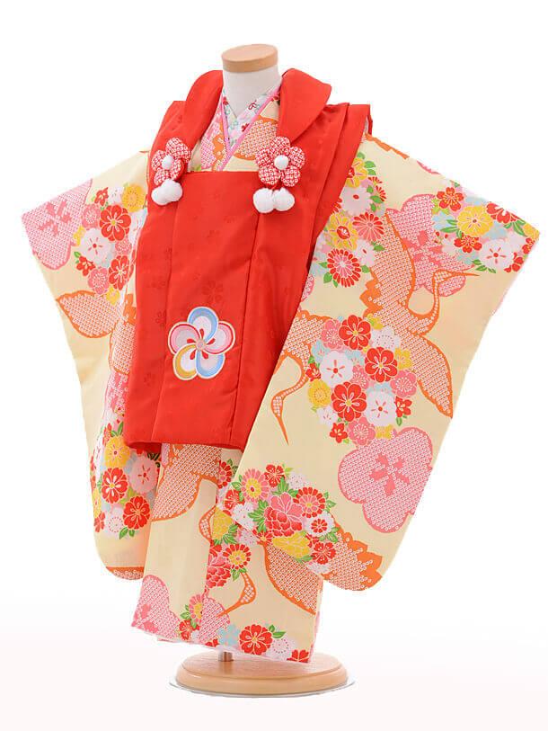 七五三レンタル(3歳女の子被布)3214小町kids赤×黄色鶴
