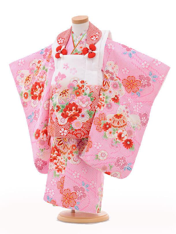 七五三レンタル(3歳女の子被布)3219白赤ぼかし×ピンク