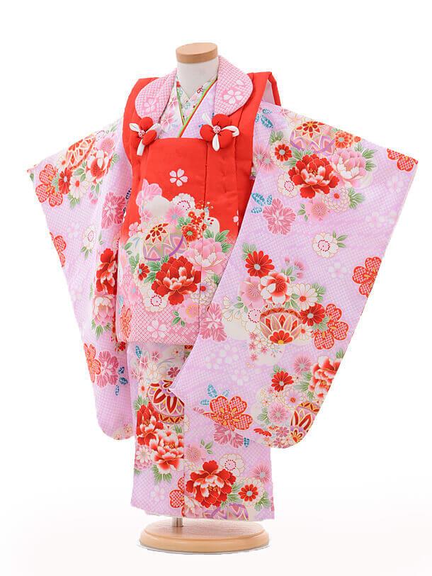 七五三レンタル(3歳女の子被布)3222赤ピンクぼかし×パ