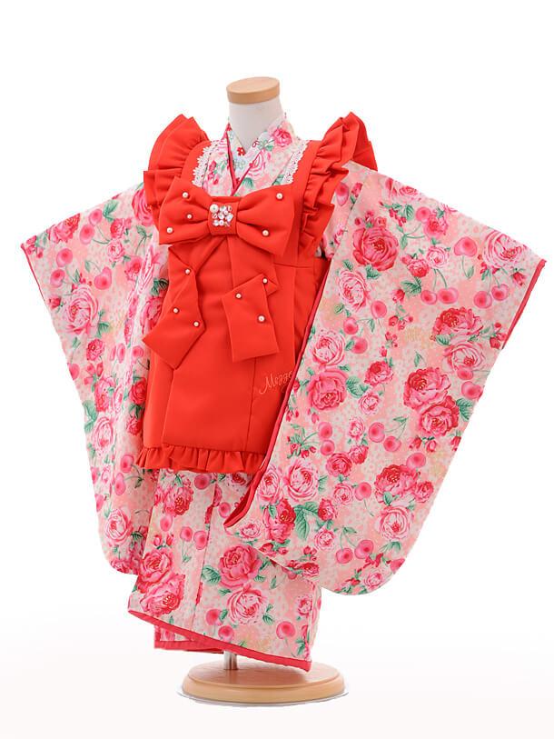 七五三レンタル(3歳女の子被布)3232メゾピアノ赤×ピン