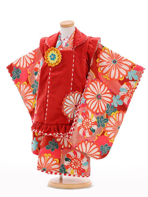 七五三レンタル(3歳女の子被布)3235JAPANSTYLE赤×赤菊