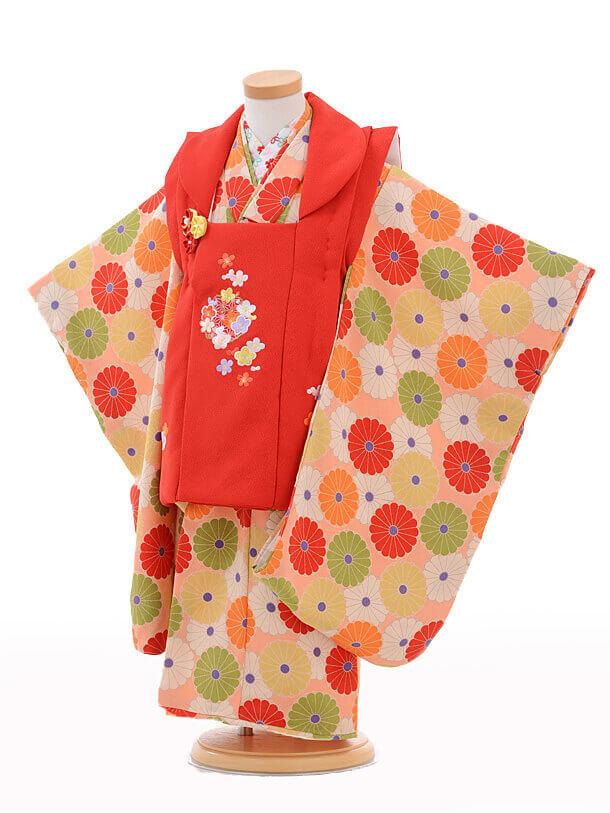 七五三レンタル(3歳女の子被布)3236赤梅麻の葉×ピンク