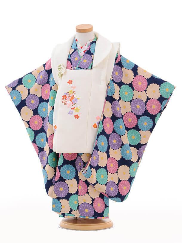 七五三レンタル(3歳女の子被布)3237白梅麻の葉刺繍×紺