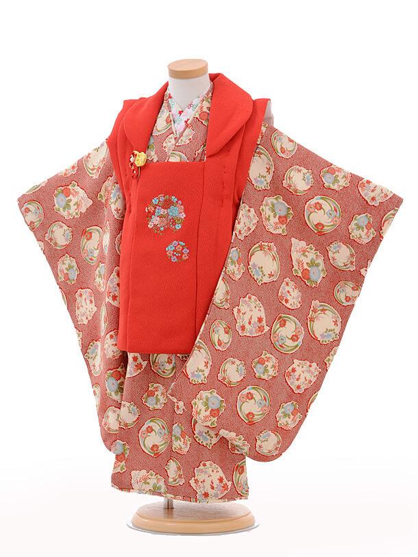 七五三レンタル(3歳女の子被布)3238赤花輪×赤かのこ花
