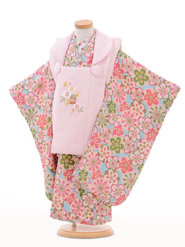 七五三レンタル(3歳女の子被布)3242薄ピンク桜まり×水