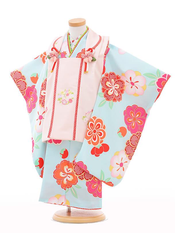 七五三レンタル(3歳女の子被布)3244式部浪漫ピンク×水