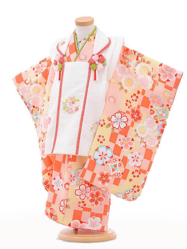 七五三(3歳女被布)3245式部浪漫白×クリーム市松桜