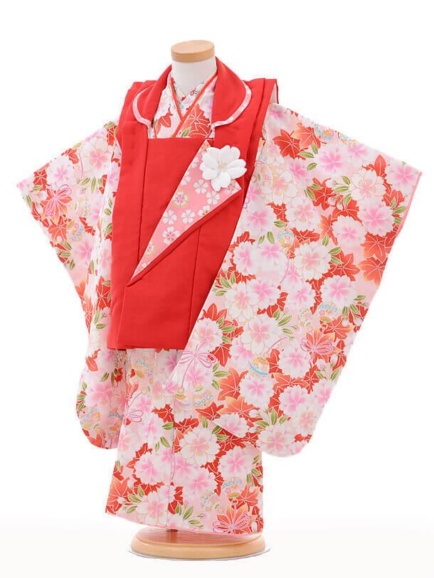 七五三レンタル(3歳女の子被布)3248式部浪漫赤×ピンク