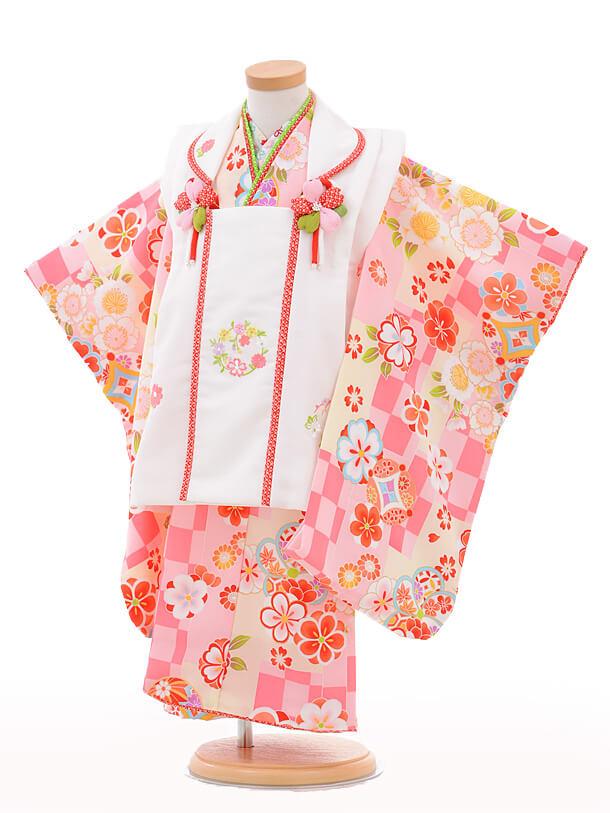 七五三(3歳女被布)3249式部浪漫白×クリーム市松桜
