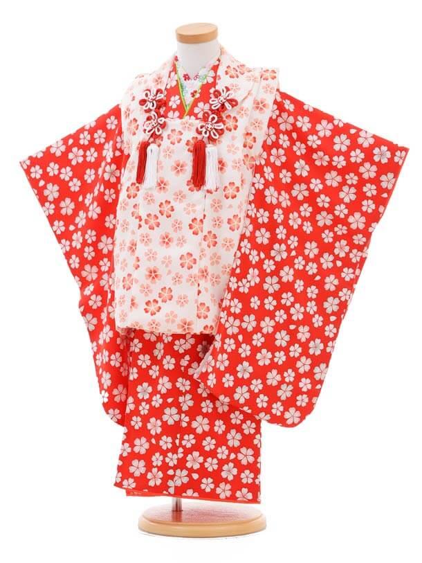 七五三(3歳女被布)3251正絹白×赤小花