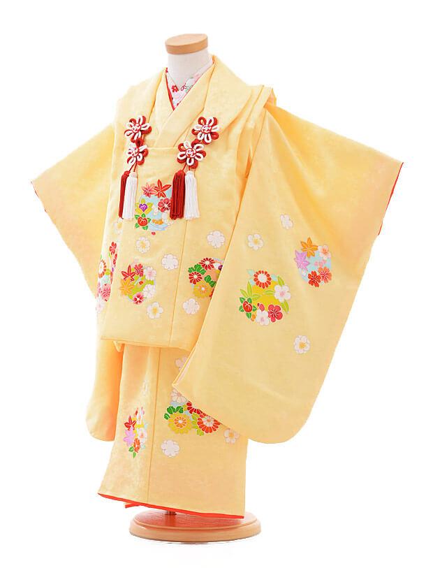 七五三レンタル(3歳女の子被布)3256正絹黄色地花輪