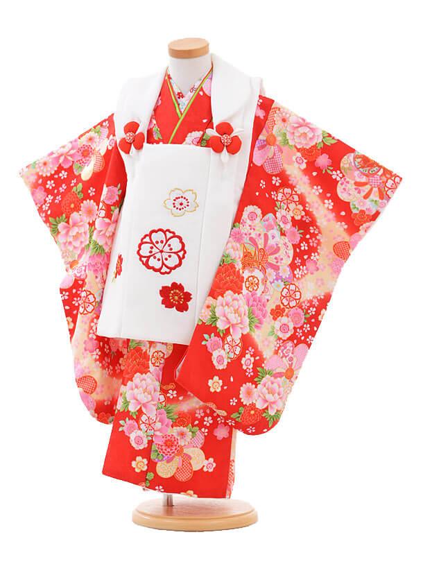 ▶七五三(3歳女被布)3258白×赤花に鼓