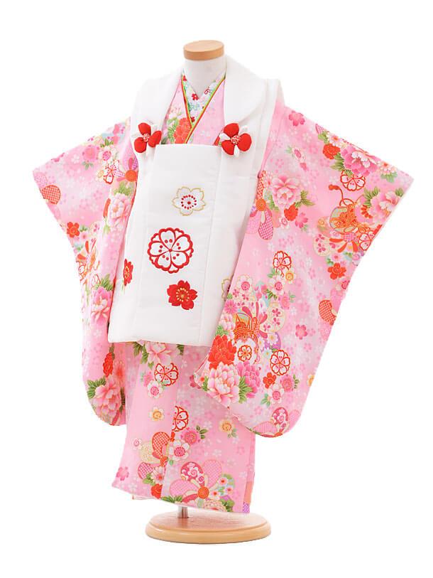 ▶七五三(3歳女被布)3259白×ピンク花に鼓
