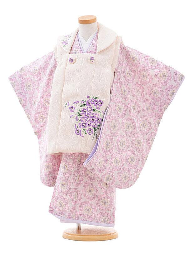 七五三レンタル(3歳女の子被布)3264JILLSTUARTスミレ刺繍