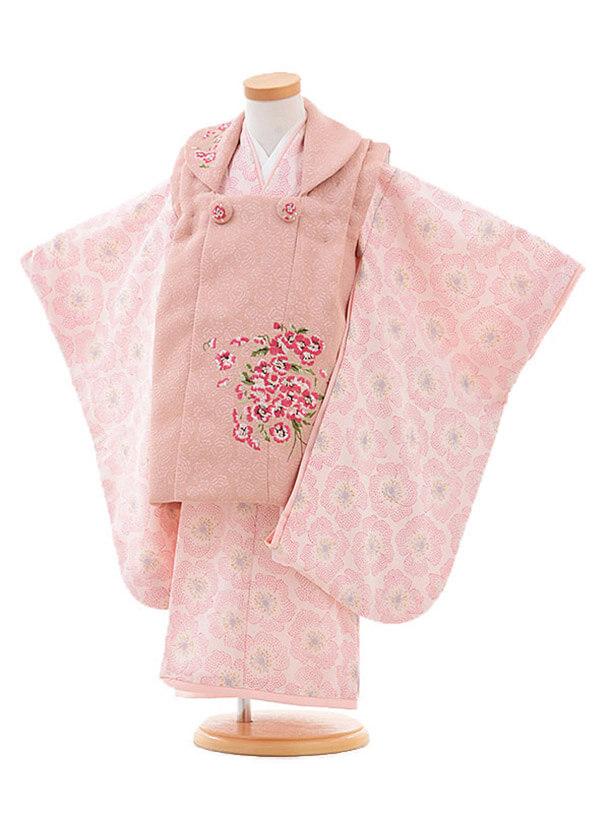 七五三(3歳女被布)3265 JILLSTUART スミレ刺繍 ピンクベージュ