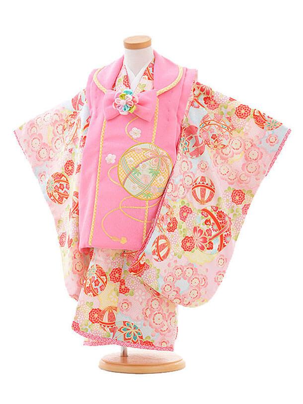 七五三レンタル(3歳女の子被布)3269乙葉鞠ピンク