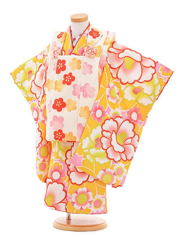 七五三レンタル(3歳女の子被布)3277花わらべクリーム色×黄色梅椿