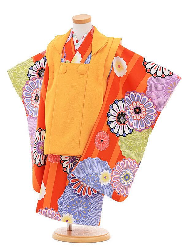 七五三レンタル(3歳女の子被布)3281オレンジ×赤縞菊