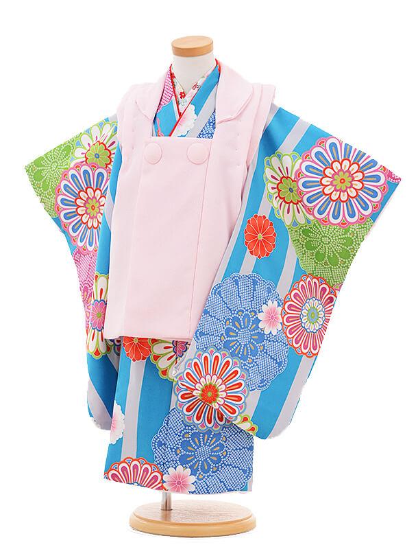 ▶七五三(3歳女被布)3282 ピンク×ブルー 縞菊