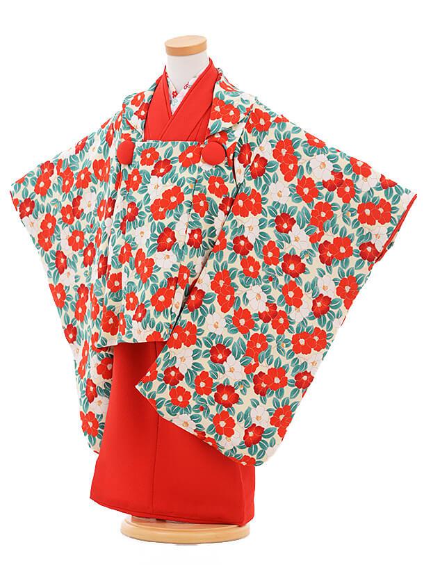 七五三レンタル(3歳女の子被布)3283レトロクリーム椿×赤