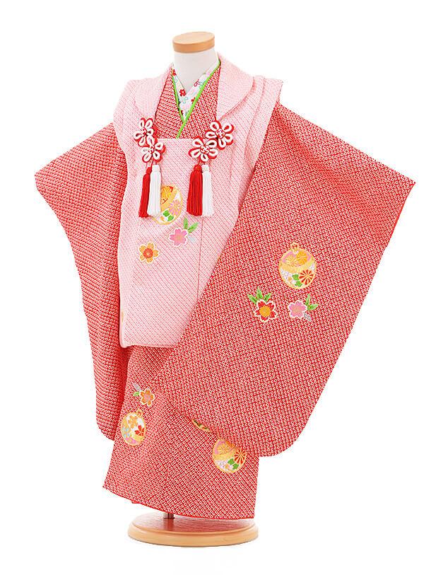 ▶七五三(3歳女被布)3285 ピンク×赤 絞り刺繍まり
