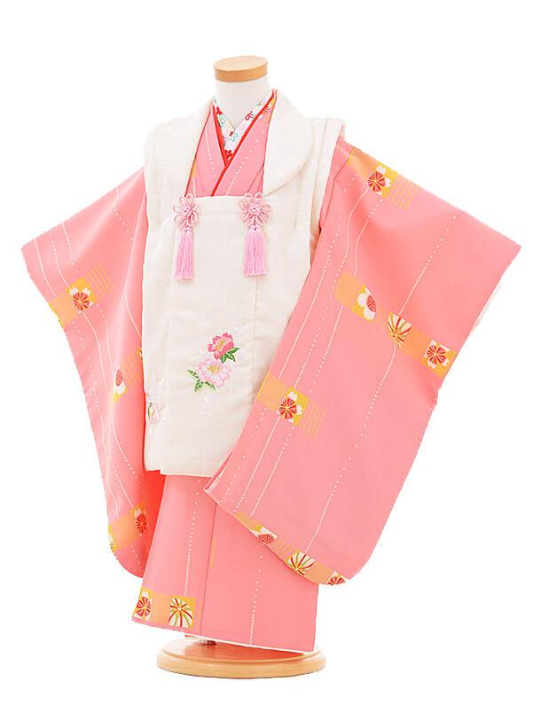 ▶七五三(3歳女被布)3286 白×ピンク 花