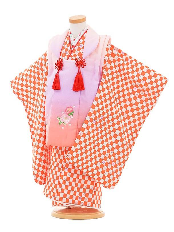▶七五三(3歳女被布)3287 ピンクぼかし×オレンジ色 市松