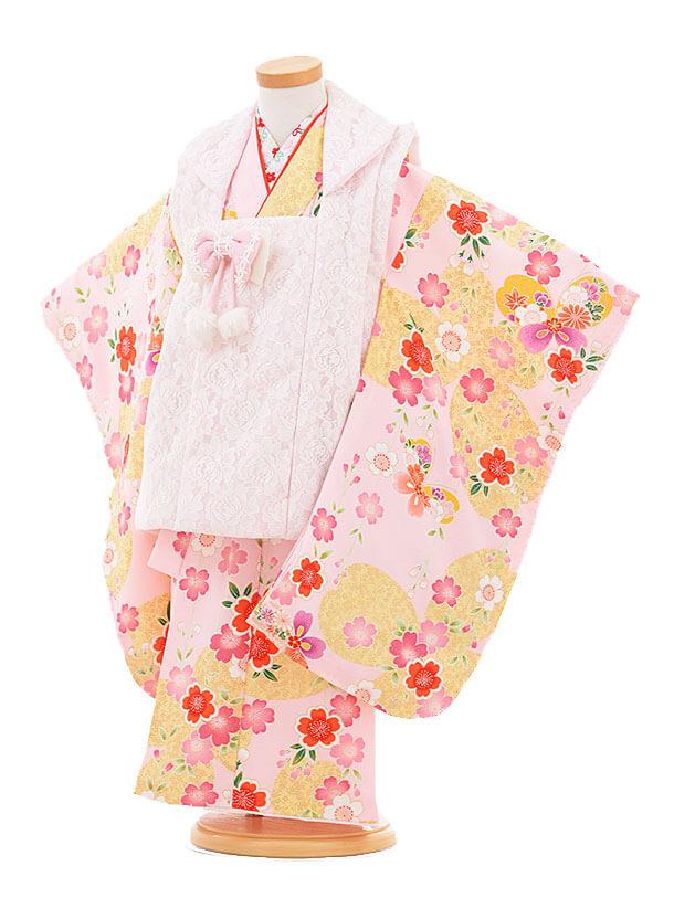▶七五三(3歳女被布)3289 ピンクレース×ピンク花に蝶