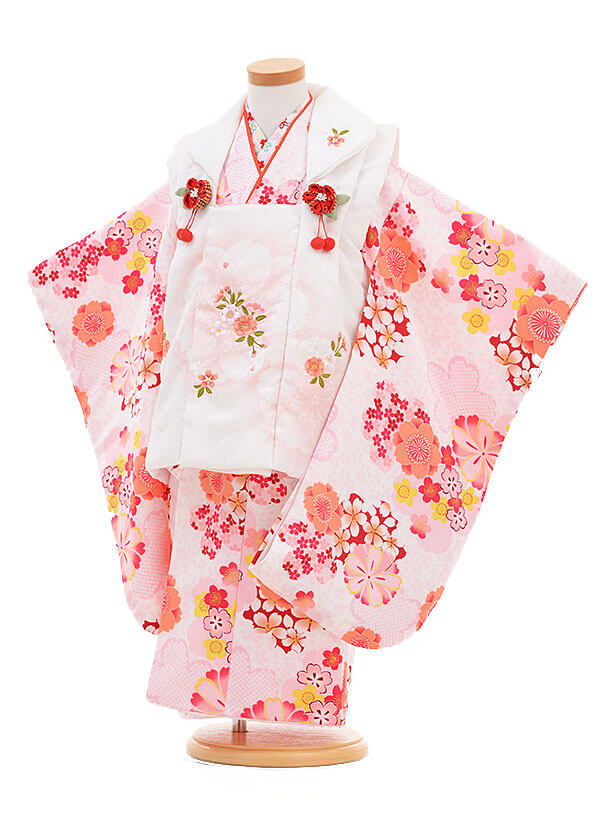 ▶七五三(3歳女被布)3293 白×ピンク 梅桜