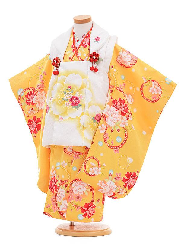 ▶七五三(3歳女被布)3295 白×黄色 桜ぼたん