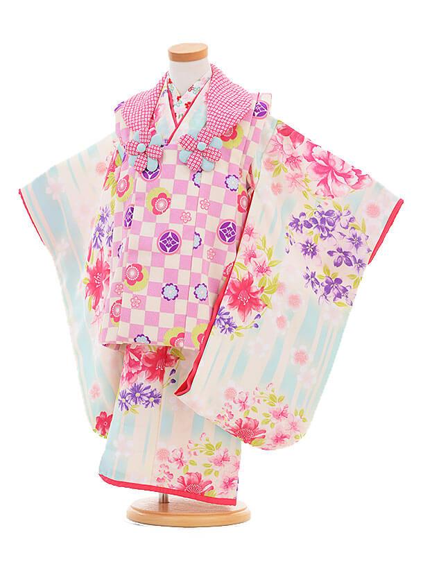 七五三レンタル(3歳女の子被布)3298ナカノヒロミチピンク市松×水色に花