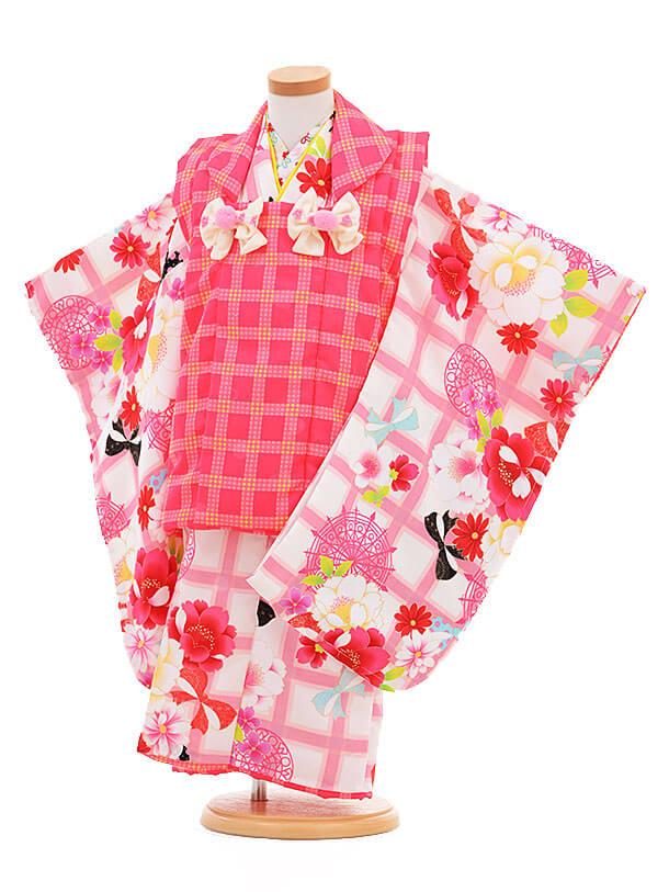 七五三レンタル(3歳女の子被布)3300スザンヌピンク×白ピンク花リボン