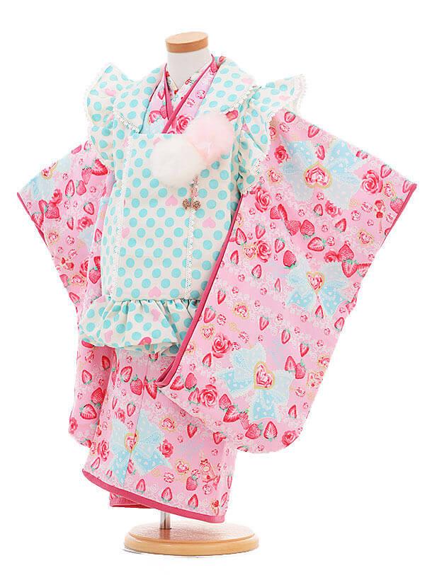 ▶七五三(3歳女被布)3303 メゾピアノ 水色水玉×ピンクいちご