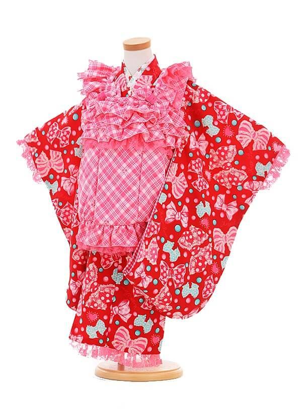 ▶七五三(3歳女被布)3305 メゾピアノ ピンクチェック×赤リボン