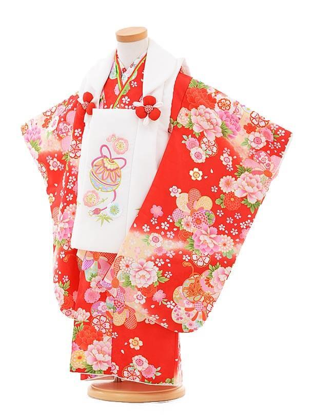 七五三レンタル(3歳女の子被布)3306白鈴×赤鼓に花