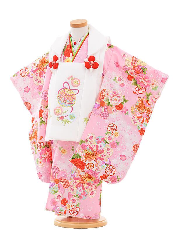 七五三(3歳女被布)3307 白鈴×ピンク 鼓に花