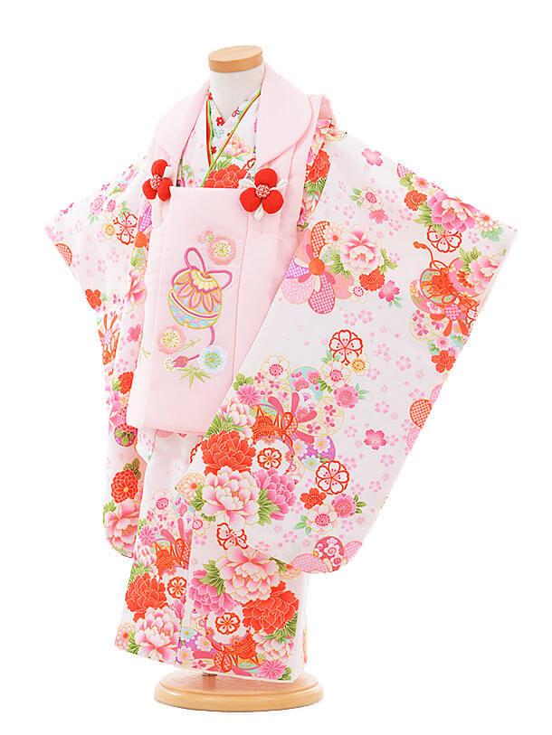 七五三(3歳女被布)3309 ピンク鈴×白 鼓に花