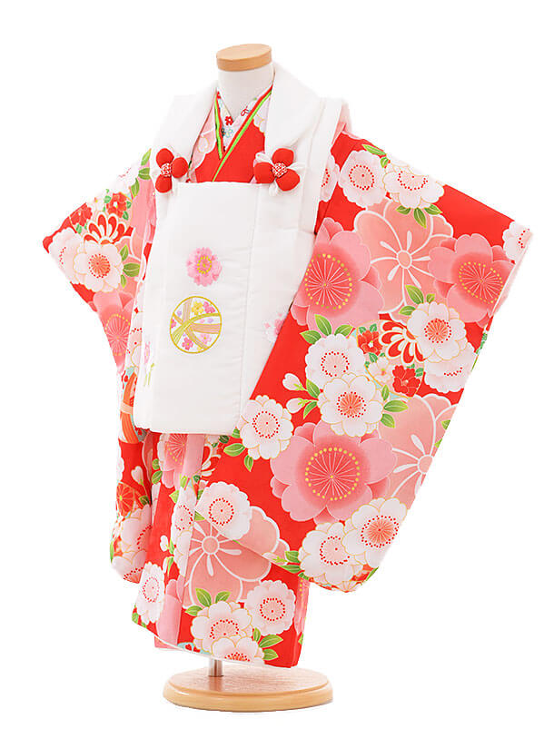七五三(3歳女被布)3310 白まり×赤 桜