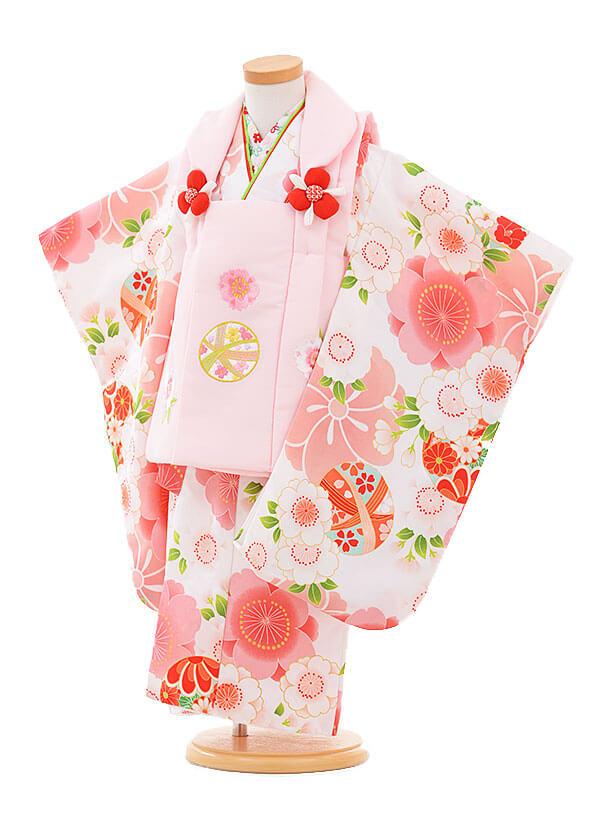 七五三(3歳女被布)3311 ピンクまり×白 桜