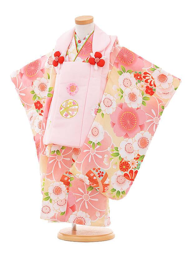 七五三(3歳女被布)3312 ピンクまり×ピンク 桜
