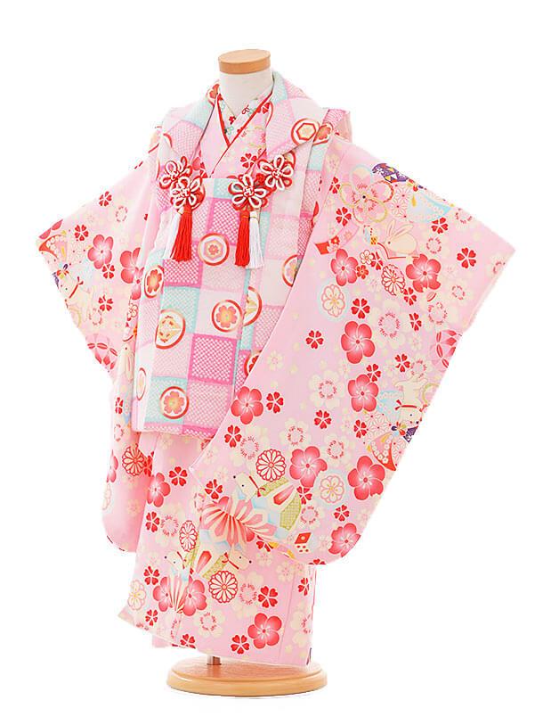 七五三レンタル(3歳女の子被布)3316ピンク×ピンク花まりいぬ
