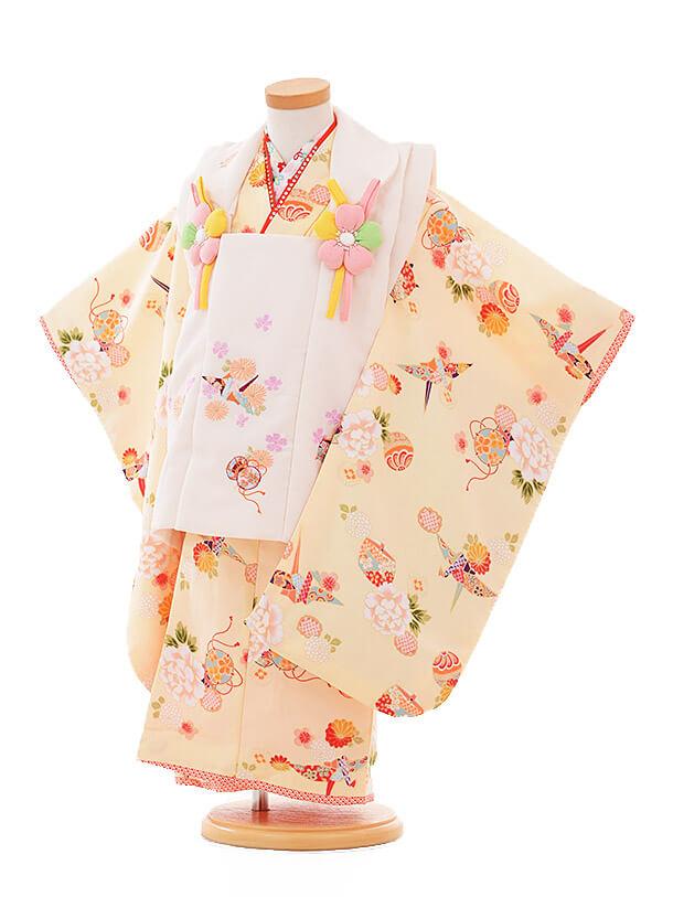七五三(3歳女被布)3317 R・KIKUCHI白×クリーム色 ぼたん 折鶴
