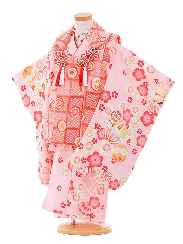 七五三レンタル(3歳女の子被布)3318ピンク赤×ピンク花まりいぬ