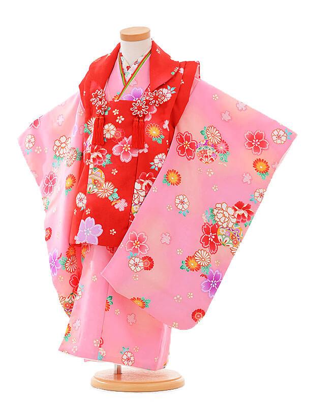 七五三(3歳女被布)3319 赤×ピンク 花まり