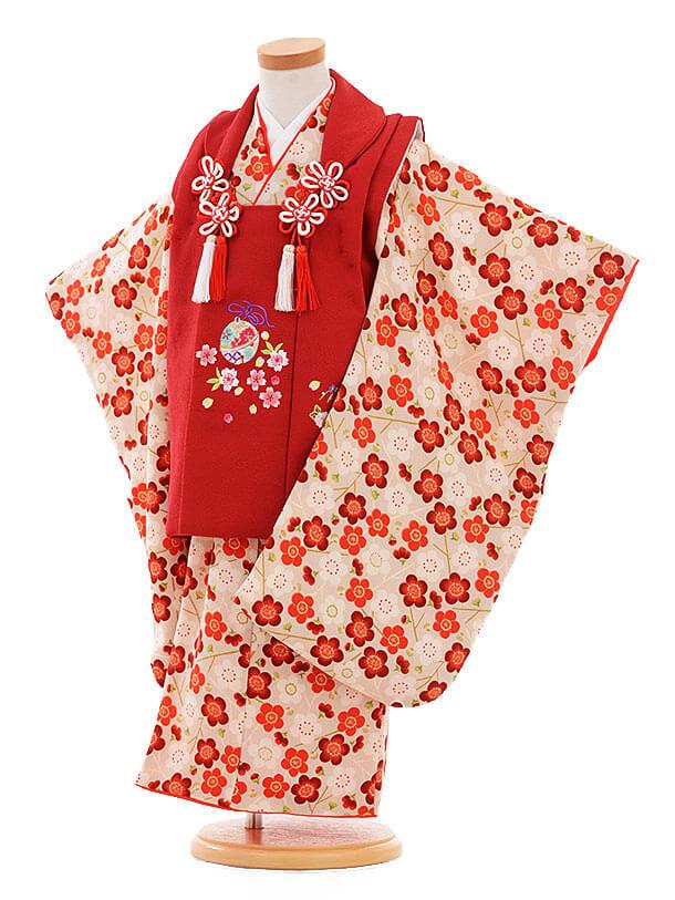 七五三レンタル(3歳女の子被布)3329 赤×ベージュ ちりめん 梅