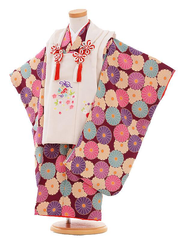 七五三レンタル(3歳女の子被布)3335 白×パープル ちりめん 菊