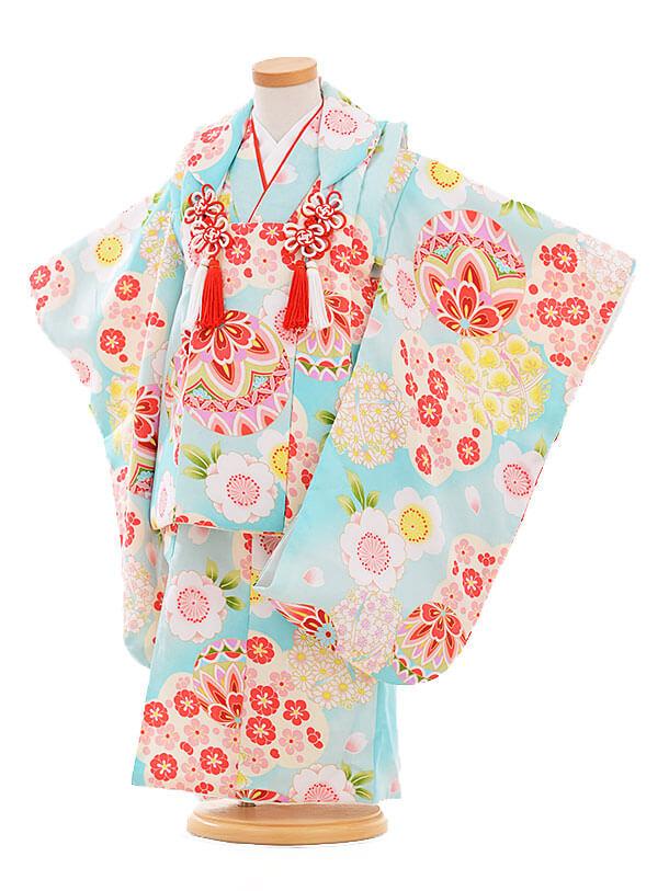 七五三レンタル(3歳女の子被布)3336 水色 まり梅桜